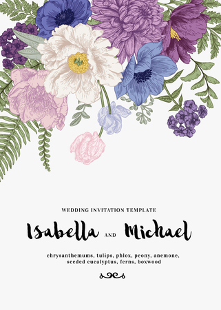 Elegant wedding Invitations with summer flowers in vintage style. Chrysanthemums, tulips, phlox, peony, anemone, ferns. Blue flowers on a white background.