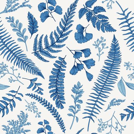 Naadloze bloemmotief in vintage stijl. Bladeren en kruiden in blauw. Botanische illustratie. Buxus, gezaaid eucalyptus, varen, maidenhair.