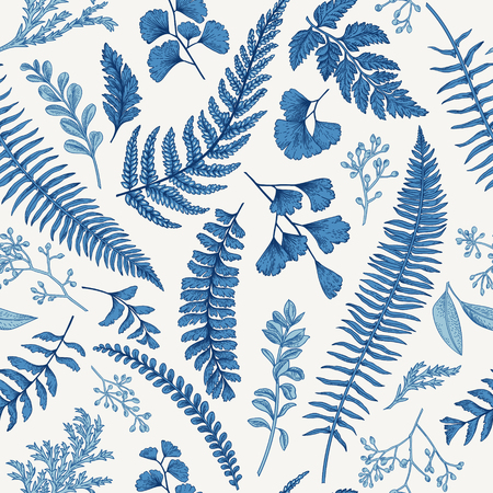 Seamless floral pattern in vintage style. Leaves and herbs in blue. Botanical illustration. Boxwood, seeded eucalyptus, fern, maidenhair.