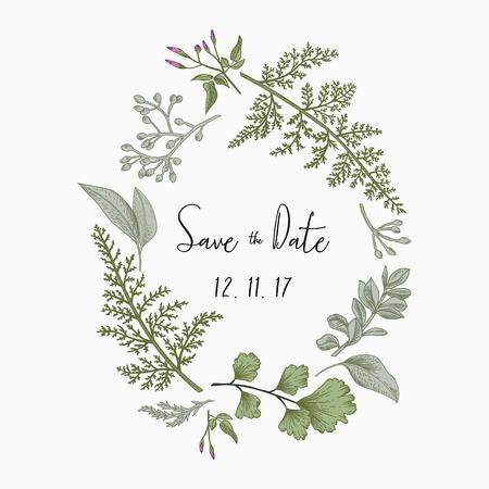 ハーブと白い背景で隔離の葉の花輪。植物のイラスト。つげ、シード ユーカリ、シダ、イチョウ。日付を保存します。デザイン要素です。ベクトル