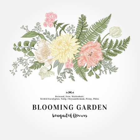 Boeket met een vintage tuin met bloemen en bladeren.