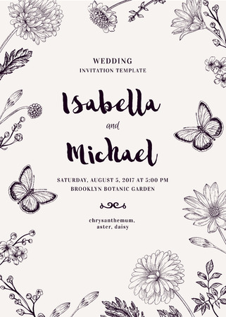 botanical illustration: Wedding invitation with two butterflies and flowers. Romantic summer background. Aster, chrysanthemum, daisy. Vector design elements. Black and white.