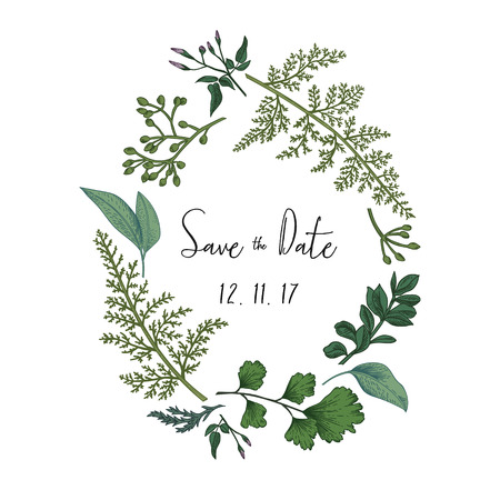 ハーブと白い背景で隔離の葉の花輪。植物のイラスト。つげ、シード ユーカリ、シダ、イチョウ。日付を保存します。デザイン要素です。