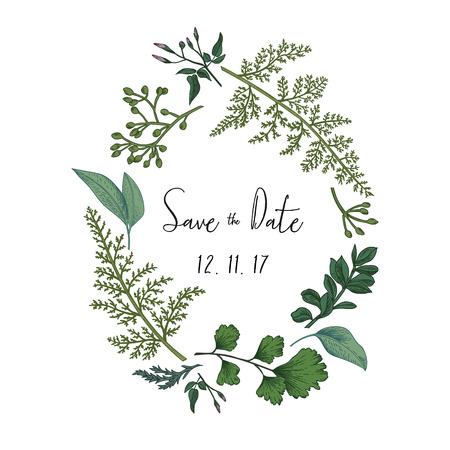 Krans met kruiden en bladeren op een witte achtergrond. Botanische illustratie. Buxus, gezaaid eucalyptus, varen, maidenhair. Sparen de datum. Design elementen.