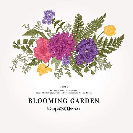 Ramo con un jardín de flores y hojas de estilo vintage.