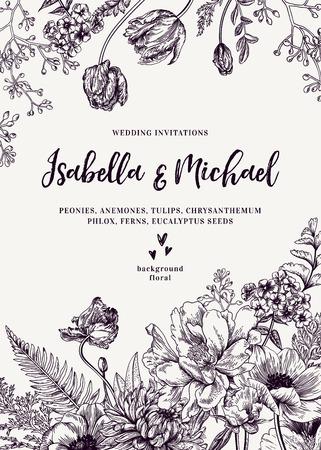 Vintage uitnodiging bruiloft. Zomer tuin bloemen. Pioenen, anemonen, tulpen, phlox, chrysant, varens, eucalyptus zaden. Botanische illustratie.