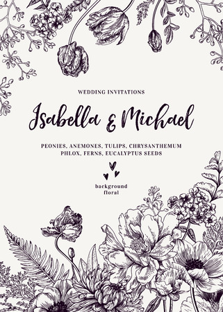 Vintage wedding invitation. Summer garden flowers. Peonies, anemones, tulips, phlox, chrysanthemum, ferns, eucalyptus seeds. Botanical illustration. Illustration