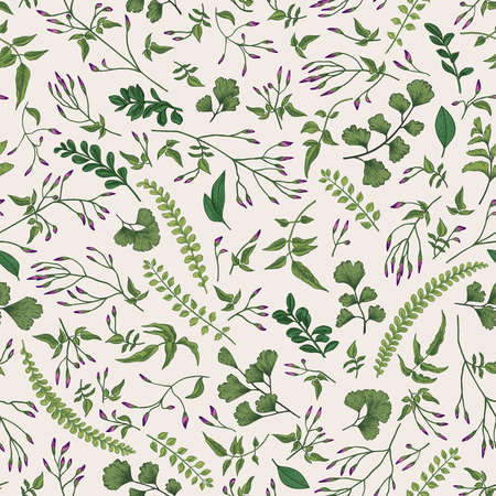 Seamless floral pattern in vintage style. Leaves and herbs. Botanical illustration. Vector design elements.
