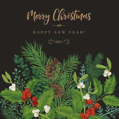 Sfondo invernale. Invito vettoriale con rami di abete, bacche, agrifoglio, vischio. Saluto della cartolina di Natale nello stile dell'annata. Vettoriali