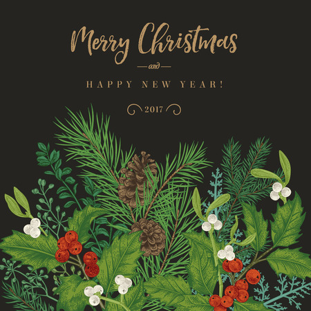 Winter background. Vector invitation with spruce branches, berries, holly, mistletoe. Greeting Christmas card in vintage style.