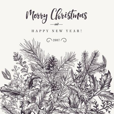Sfondo invernale Vector l'invito con rami di abete rosso, bacche, agrifoglio, vischio. Auguri di Natale in stile vintage. Bianco e nero.