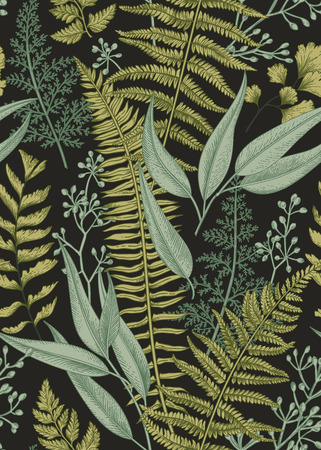 botany: Seamless floral pattern in vintage style. Leaves and plants. Botanical illustration. Vector.