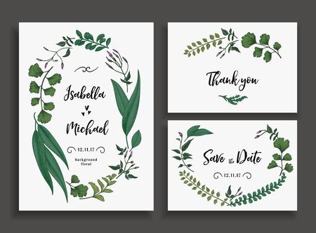 Set of wedding cards with leaves, herbs and flowers. Wedding invitation, save the date, thank you card. Vector illustration. Wreath with herbs and leaves isolated on white background.