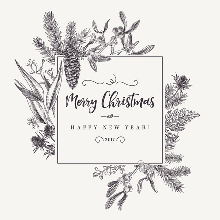 Christmas holiday frame  with pine branches, mistletoe, fern. Black and white. Engraving. Vector design elements isolated on white background.