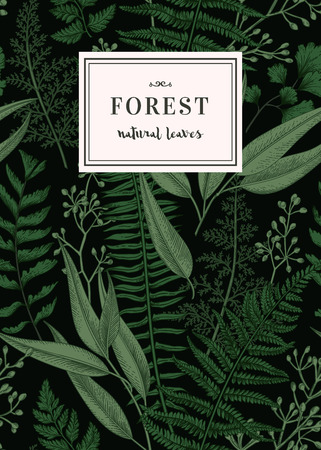Carte botanique dans le style vintage. Motif floral sans couture avec des feuilles. Vecteur.