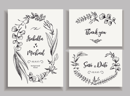 Set of wedding cards with leaves, herbs and flowers. Wedding invitation, save the date, thank you card. Vector illustration. Wreath with leaves and twigs. Engraving style. Black and white. Illustration