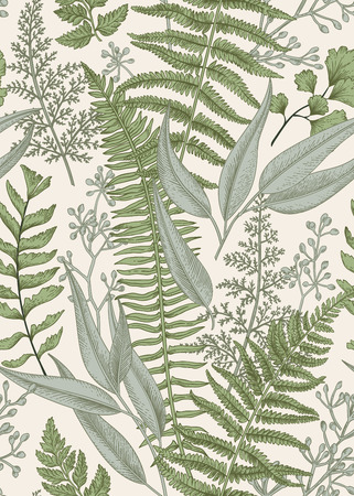Seamless floral pattern in vintage style. Leaves and plants. Botanical illustration. Vector.