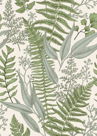 Seamless pattern floreali in stile vintage. Foglie e piante. illustrazione botanica. Vettore. Archivio Fotografico - 68780591