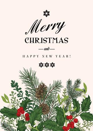 Groet Kerstkaart in vintage stijl. Winter achtergrond. Vector uitnodiging met dennentakken, bessen, hulst, maretak, sparren. Botanische illustratie.