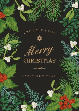 빈티지 스타일에서 인사말 크리스마스 카드입니다. 겨울 배경입니다. 소나무 분기, 열매, 홀리, 미 슬 토, 고 사리 벡터 프레임. 식물 그림입니다.