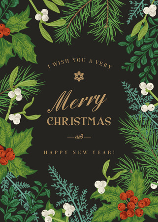 Greeting Christmas card in vintage style. Winter background. Vector frame with pine branches, berries, holly, mistletoe, and ferns. Botanical illustration.