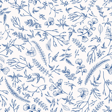 Seamless floral pattern in vintage style. Leaves and herbs in blue. Botanical illustration. Vector design elements.