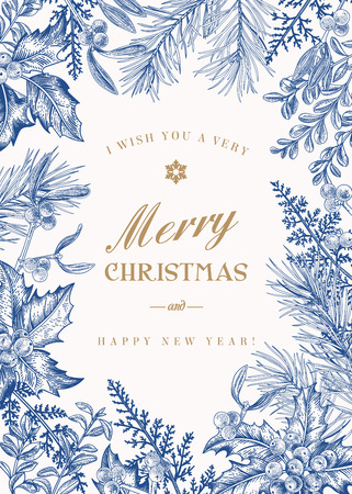 Greeting Christmas card in vintage style. Winter background. Vector frame with pine branches, berries, holly, mistletoe, and ferns. Botanical illustration. Blue. Vectores