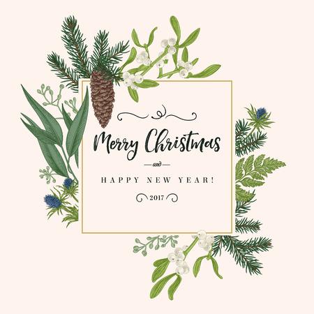 Weihnachtsferien Rahmen im Vintage-Stil. Grußeinladungskarte. Botanische Illustration mit Tannenzweigen, Tannenzapfen, Mistel, Farn.