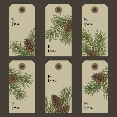 Christmas gift tags with pine branches and cones. Vector illustration in vintage style. Kraft.