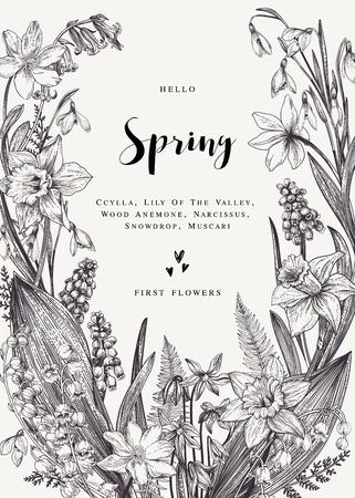春の花と花の花輪。ベクトル ヴィンテージ植物イラスト。黒と白。  イラスト・ベクター素材