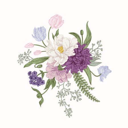 Bouquet in vintage style. Composition of colorful flowers. Design element. Botanical illustration. Illustration