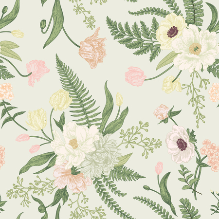 Seamless floral pattern with bouquets of spring flowers. Vintage background. Peony, ferns, tulips, anemones, chrysanthemum eucalyptus seeds. Pastel colors.