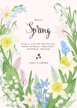 Bloemen kaart met lentebloemen. Botanische illustratie. Pastelkleuren. Vector.
