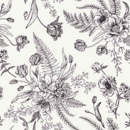 Seamless floral pattern with bouquets of spring flowers. Black and white vector illustration. Vintage background. Engraving. Peony, ferns, tulips, anemones, eucalyptus seeds.