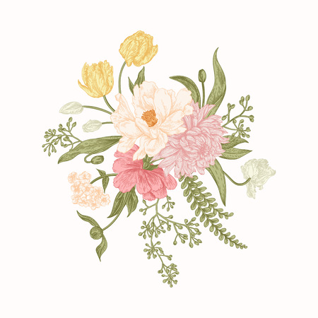 Composition with spring flowers. Bouquet in vintage style. Botanical illustration. Tulips, peony, chrysanthemum, ferns, eucalyptus seeds. Design elements isolated on white background. Pastel colors. Illusztráció