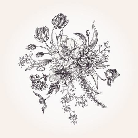Bouquet of spring flowers in vintage style. Black and white. Design element. Illustration