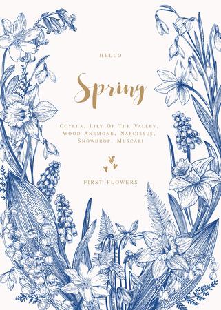 春の花と花の花輪。ベクトル ヴィンテージ植物イラスト。スイセン、スズラン、アネモネ、スキュラ、スノー ドロップ。青い。