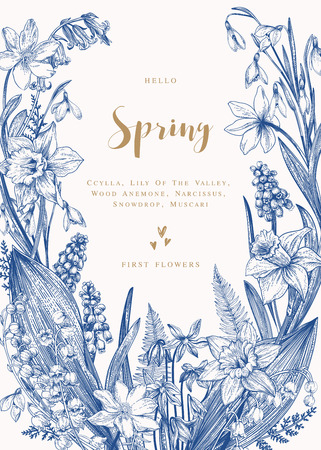 Floral wreath with spring flowers. Vector vintage botanical illustration. Narcissus, lily of the valley, anemone, scylla, snowdrop. Blue. Illustration