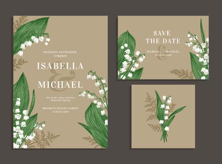 ビンテージのウェディングは、春の花で設定します。谷間のユリとシダ。結婚式の招待状、日付、受付カードを保存します。