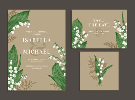 Vintage wedding set with spring flowers. Lilies of the valley and fern. Wedding invitation, save the date, reception card. Ilustracja