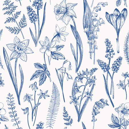 Vintage seamless floral pattern. Spring flowers and  herbs. Botanical vector illustration. Narcissus, lily of the valley, hellebore, snowdrop, crocus. Engraving. Blue.