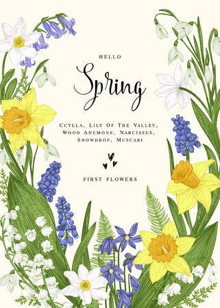 Floral wreath with spring flowers. Vector vintage botanical illustration. Narcissus, lily of the valley, anemone, scylla, snowdrop, muscari. 일러스트