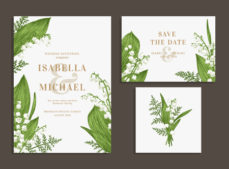 Vintage wedding set with spring flowers. Lilies of the valley and fern. Wedding invitation, save the date, reception card. Vectores