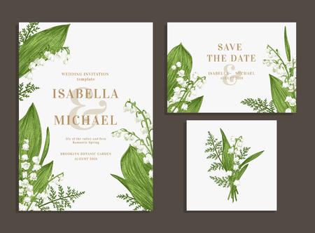 La boda de la vendimia fijó con las flores de la primavera. Lirios del valle y helechos. Invitación de la boda, ahorre la fecha, tarjeta de la recepción.