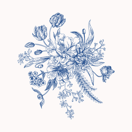 Bouquet in vintage style. Composition of colorful flowers. Design elements isolated on white background. Tulips, peony, chrysanthemum, ferns, eucalyptus seeds. Blue color.