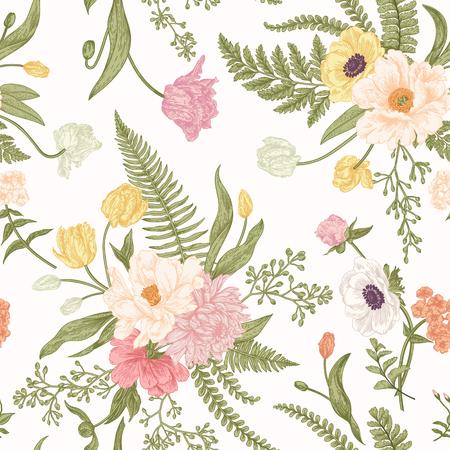 Naadloos bloemenpatroon met boeketten van de lentebloemen. Vintage achtergrond. Peony, varens, tulpen, anemonen, chrysanthemum eucalyptus zaden. Pastelkleuren. Stock Illustratie