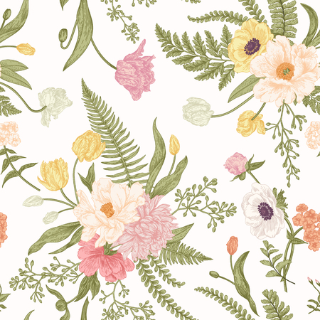 Seamless floral pattern with bouquets of spring flowers. Vintage background. Peony, ferns, tulips, anemones, chrysanthemum eucalyptus seeds. Pastel colors. Vettoriali