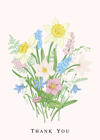 Romantic bouquet of flowers in early spring. Vector design elements isolated on white background. Botanical illustration. Pastel colors.