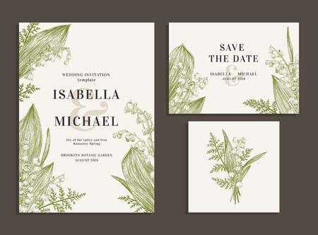 ビンテージのウェディングは、春の花で設定します。谷間のユリとシダ。結婚式の招待状、日付、受付カードを保存します。ベクトルの図。  イラスト・ベクター素材