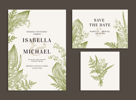 Vintage wedding set with spring flowers. Lilies of the valley and fern. Wedding invitation, save the date, reception card. Vector illustration.